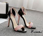 高跟涼鞋 粉紅芭比粉黑撞色經典細跟蘿莉風 高跟鞋 晚宴鞋 新娘鞋 大尺碼35-40*Kwoomi-A62