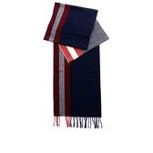 【BALLY】拚色混羊毛圍巾(藍/白/紅) 6203390001 DARK NAVY