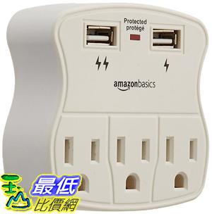 [106美國直購] AmazonBasics 插座 3-Outlet Surge Protector with 2 USB Ports