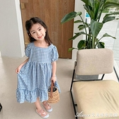 女童休閒時尚森繫格子洋裝/連身裙夏裝新款韓版洋氣寶寶一字領長款裙子 快速出貨