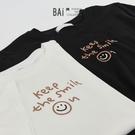 笑臉英字印圖彈性T恤上衣-BAi白媽媽【310238】
