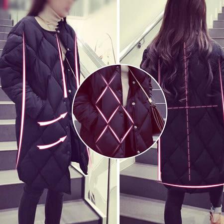 ※現貨 衍縫羽絨棉無領長版大衣/外套 2色 S-2XL碼 【KN71020】