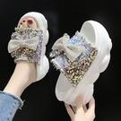 增高拖鞋女外穿厚底2021夏季新款時尚松糕坡跟蝴蝶結網紅涼拖潮