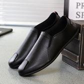 夏季男士透氣豆豆真皮鞋韓版潮流休閒小白潮鞋商務懶人一腳蹬男鞋