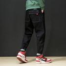 FINDSENSE H1日本 四季款 新款 潮男 口袋裝飾 彈力牛仔褲 哈倫褲