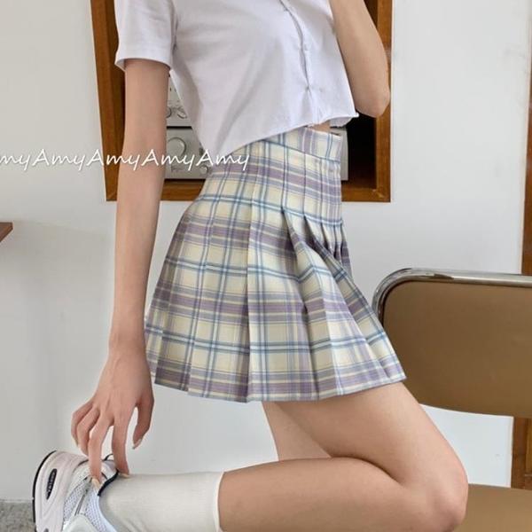 2021新款jk格裙高腰百摺裙女夏季a型短裙格子半身裙a字裙子ins風 非凡小鋪 新品