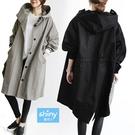 【V2665】shiny藍格子-率性美學.寬鬆英倫風抽繩連帽風衣外套