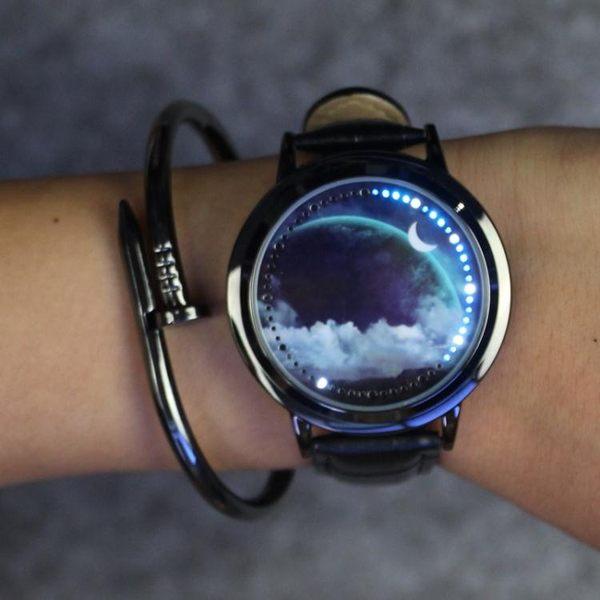 LED夜光觸摸屏手錶炫酷男女學生星空情侶錶 免運