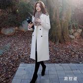 長版大衣 2018秋冬新款韓版寬鬆中長款呢子時尚休閒保暖毛呢外套 DN18041【旅行者】