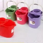 手壓帶滑輪加厚洗拖把桶擠水桶墩布清潔單桶拖把壓干桶家用大容量 LN4195【甜心小妮童裝】