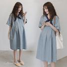 孕婦裝 MIMI別走【P521102】日系好感 波點領巾棉麻寬襬連身裙 孕婦洋裝