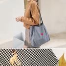帆布袋 格紋 刺繡 字母 收納 手提 側肩包 環保購物袋--手提/單肩【SPA137】 icoca  11/02