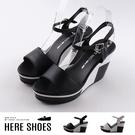 [Here Shoes]跟高 前3 後10cm 黑白撞色拼接 皮質鞋面 楔型高跟涼鞋 MIT台灣製-KD6375