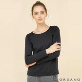 【GIORDANO】女裝簡約素色棉質圓領長袖T恤 - 01 標誌黑色