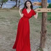 長洋裝 波西米亞風-大擺前開岔優雅渡假風女連身裙2色73mw22【巴黎精品】