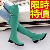 長靴-個性細緻時尚保暖皮帶扣低跟過膝女馬靴5色64e20【巴黎精品】