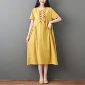 洋裝 中大尺碼女裝 胖妹妹2021夏季新款文藝復古大碼寬鬆中長款棉麻短袖連身裙子