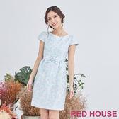 Red House 蕾赫斯-花朵蝴蝶結洋裝(淺藍色)