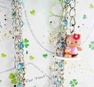 【震撼精品百貨】Hello Kitty 凱蒂貓~鐵鍊手機掛繩-藍衝浪