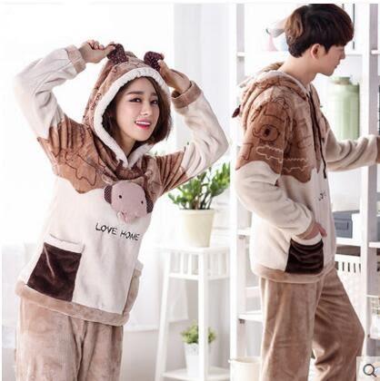 熊孩子ஐ韓版卡通秋冬季加厚珊瑚絨情侶睡衣男士女士長袖法蘭絨家居服套裝(情侶裝)