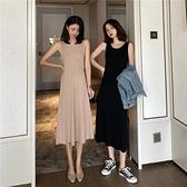 無袖針織洋裝女2021春夏新款黑色過膝打底背心裙中長款吊帶長裙 「雙10特惠」