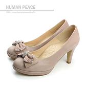 HUMAN PEACE 皮革 蝴蝶結 舒適 好穿脫 高跟 戶外休閒鞋 肉粉色 女鞋 no141