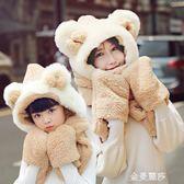 帽子女秋冬休閒百搭秋季韓版甜美可愛潮流秋天兒童圍巾手套三件套 晴天時尚館