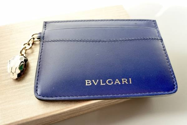 全新真品Bvlgari 寶格麗 282021 Serpenti皇家藍色羅馬小牛皮信用卡名片夾