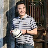 夏季絲光棉 棉中年男士短袖t恤寬鬆 中老年POLO衫爸爸裝薄款
