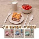 可分解小麥環保餐具組 筷子叉子湯匙杯子盤子碗六件套 旅行家用 健康無毒小麥纖維【RS508】