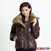 BOBSON 女款豹紋大領片羽毛外套(咖32099-76)