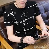 男士冰絲短袖t恤夏季體桖修身潮牌條紋男裝夏裝半截袖上衣打底衫 依凡卡時尚