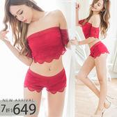 睡衣 SEXY裸肩兩件式睡衣+睡褲(兩色:藍、紅)-性感、情趣、居家服_蜜桃洋房