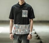 FINDSENSE MD 日系 潮 男 時尚 寬鬆五分袖襯衫 特色拼接迷彩 短袖