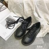 ins小皮鞋女春季新款韓版百搭ulzzang學生英倫復古繫鞋帶單鞋 易家樂