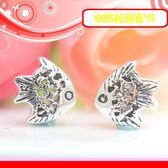 銀鏡DIY S925純銀材料配件/精緻簍空雕紋可愛Q版熱帶魚(神仙魚)~適合串珠手作串珠/蠶絲蠟線