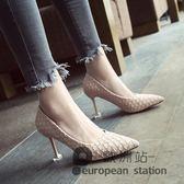 高跟鞋/春季韓版新款格紋女百搭尖頭淺口細跟紅色婚鞋貓跟單鞋「歐洲站」