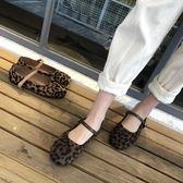 豹紋平底單鞋女初方頭一字扣帶瑪麗珍鞋淺口懶人奶奶鞋    蘑菇街小屋