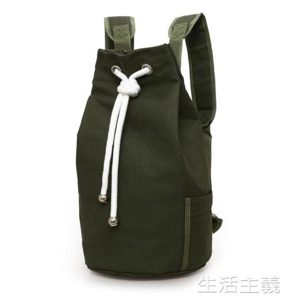 籃球包 新款潮帆布包男包水桶包雙肩包運動大容量健身包水桶籃球包 生活主義