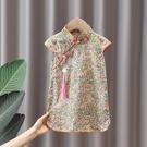 女童洋裝 女童旗袍連身裙2021新款夏裝洋氣小童碎花裙中國風女寶寶公主裙子