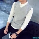 秋冬季男士毛衣加絨針織衫背心馬甲V領線衣純色坎肩上衣服潮