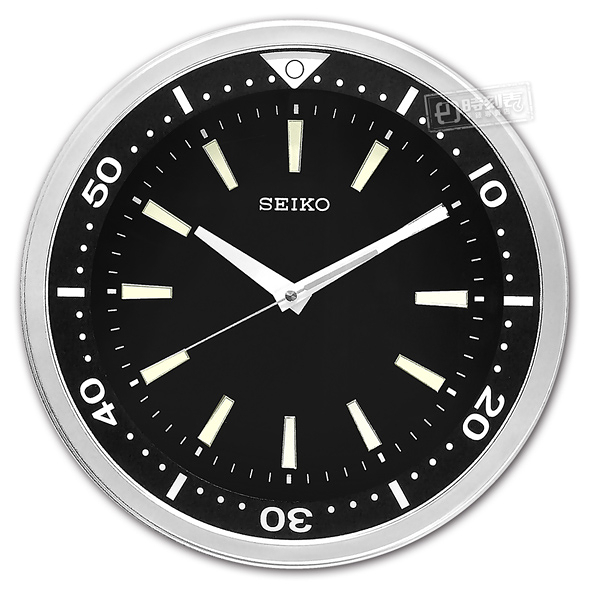 SEIKO 精工 / 潛水錶造型 夜光 黑水鬼 滑動式秒針 餐廳客廳臥室 靜音掛鐘 - 黑色 #QXA723A