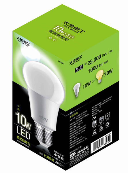 太星電工LED燈泡 E27/10W 白光