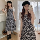 VK精品服飾 韓系優雅大碼小鄒菊印花拼接袖修身短袖洋裝