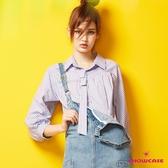 【SHOWCASE】氣質領帶造型落肩直條紋泡泡長袖襯衫(藍)