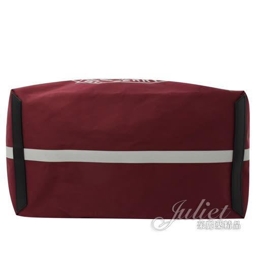 茱麗葉精品【全新現貨】BURBERRY 40787601 經典徽章撞色帆布肩背大購物包.紅