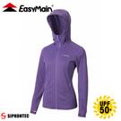 【EasyMain 衣力美 女 永久防曬 連帽排汗衣《深紫藍》】CE20034/防曬外套/薄外套