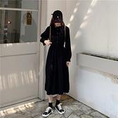 長袖洋裝 秋冬新款復古冷淡風中長款收腰顯瘦木耳邊長袖連身裙女裝裙子-Ballet朵朵