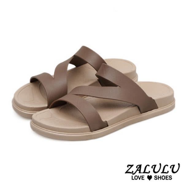 ZALULU愛鞋館 7U506 預購 時尚Z字沙灘厚底防滑涼拖鞋-7色-36-41