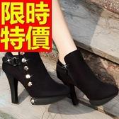 真皮短靴-有型素雅亮麗高跟女靴子2色62d23[巴黎精品]